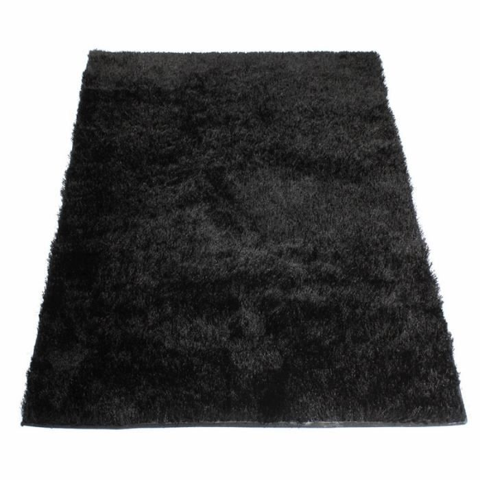 tapis shaggy noir 160 x 230 cm achat vente jet e de lit boutis cdiscount. Black Bedroom Furniture Sets. Home Design Ideas