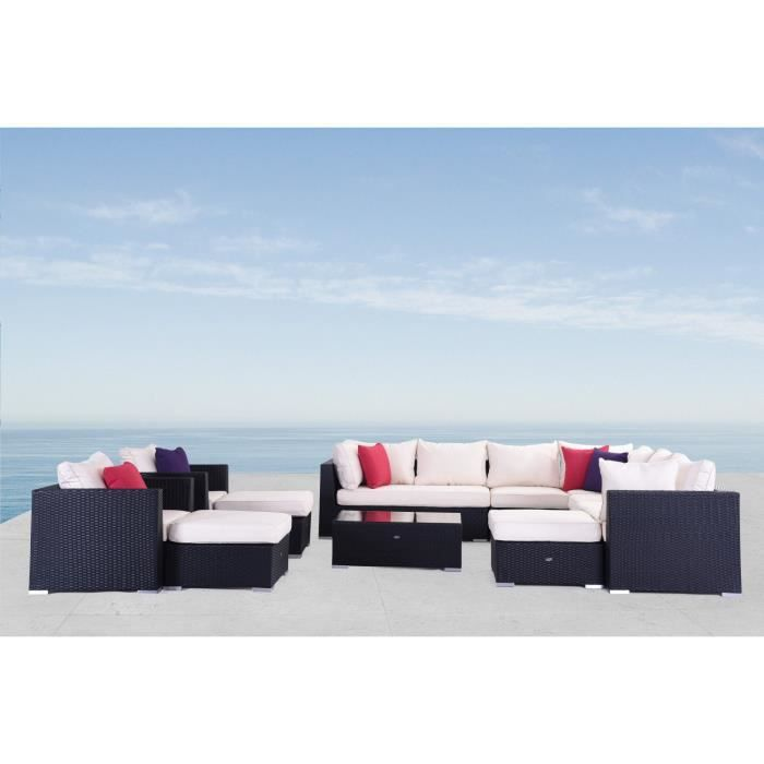 salon de jardin en r sine tress e 14 places hawa noir coussins blancs cru achat vente. Black Bedroom Furniture Sets. Home Design Ideas