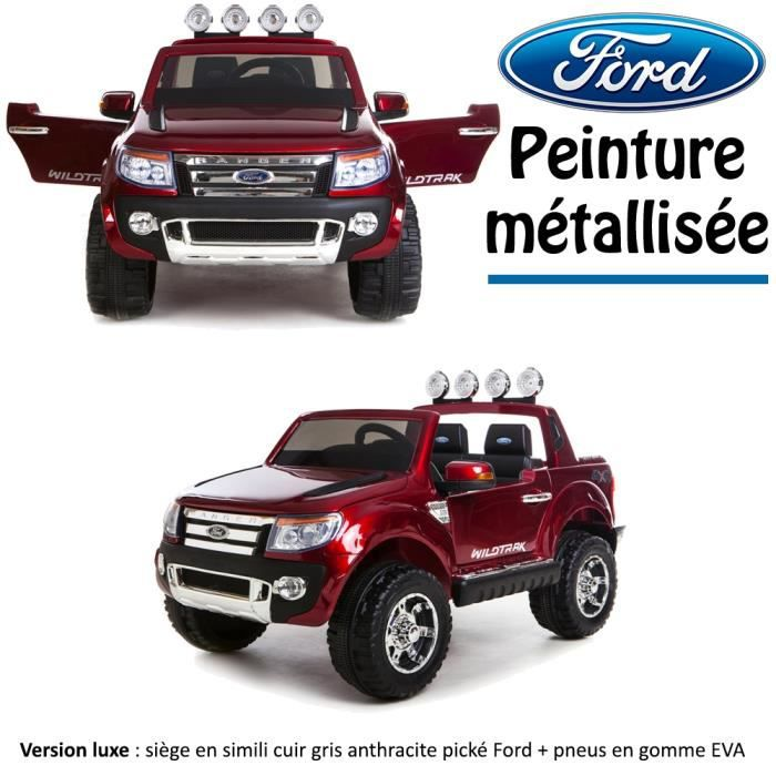 4x4 voiture quad lectrique enfant ford peinture m tallis e 2 places 12 v rouge version luxe. Black Bedroom Furniture Sets. Home Design Ideas