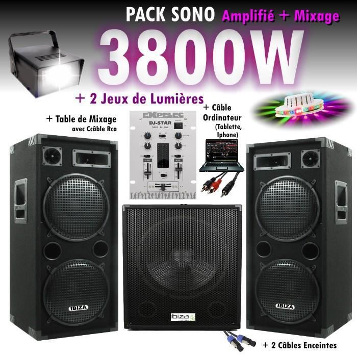 pack sono mixage dj 3800w avec 1 caisson 2 encentes. Black Bedroom Furniture Sets. Home Design Ideas
