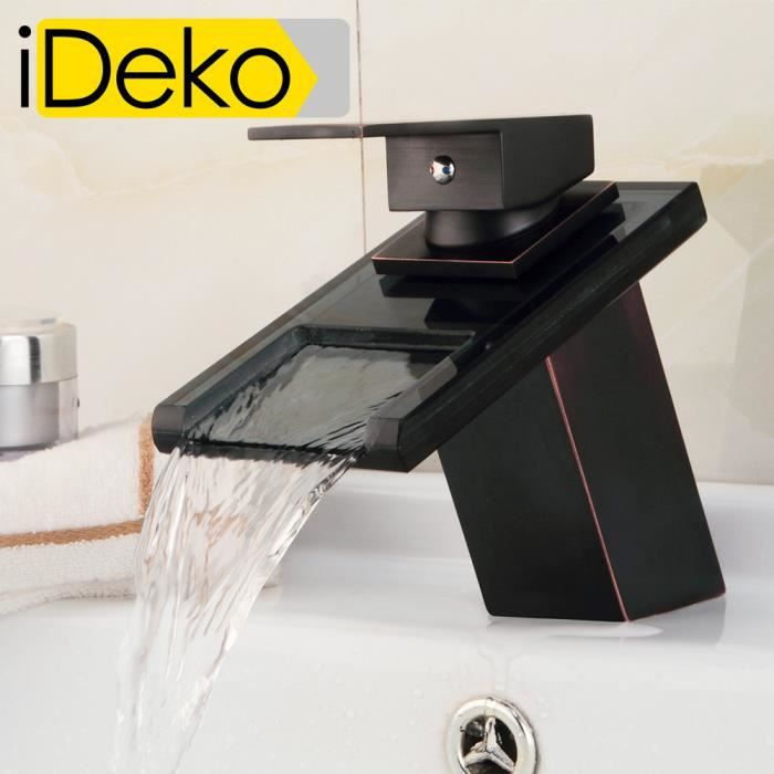 ideko robinet mitigeur lavabo cascade salle de bain en c ramique en verre noir sans led. Black Bedroom Furniture Sets. Home Design Ideas