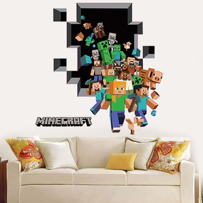 3d minecraft papier peint autocollants dessin a achat vente stickers cdiscount. Black Bedroom Furniture Sets. Home Design Ideas