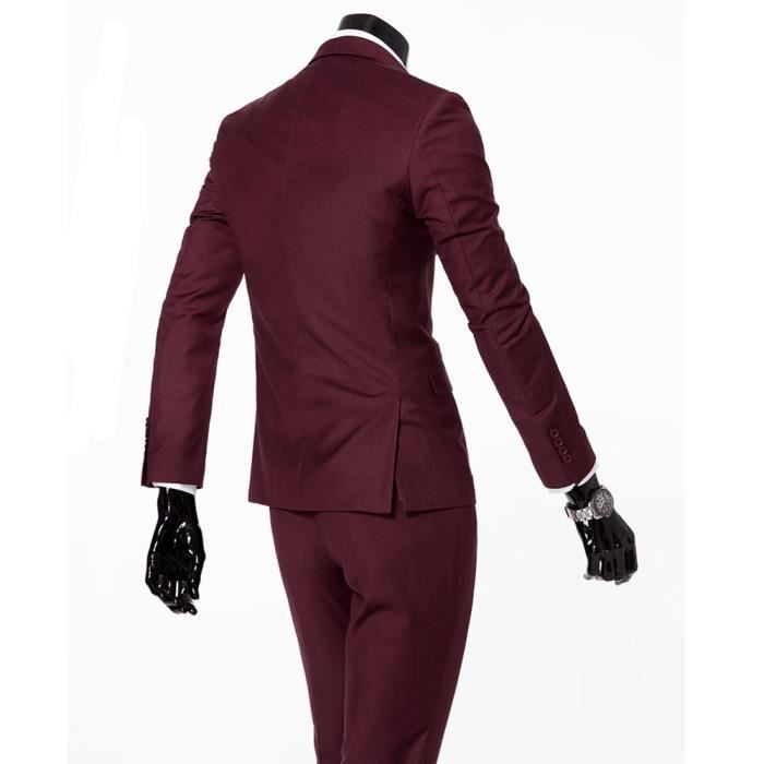 COSTUME - TAILLEUR Costume Cérémonie Homme 2 Pièce Mode Costume Col C