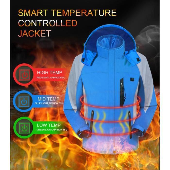 Hiver hommes chauffée Veste à capuche coupe vent extérieur Sport Imperméables étanche Bleu
