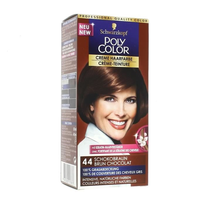 coloration schwarzkopf coloration poly color 44 brun chocol - Shampoing Colorant Schwarzkopf