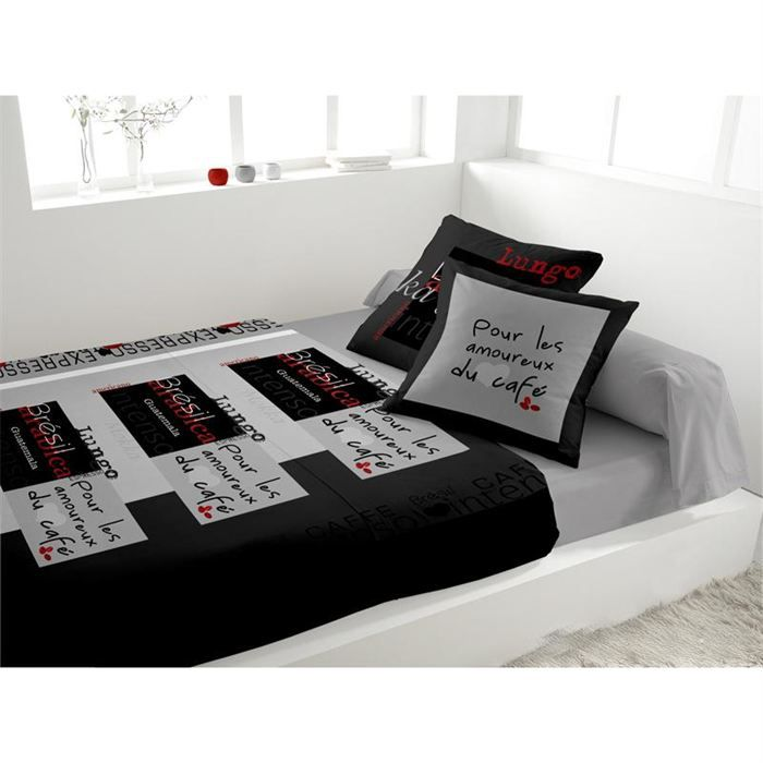 parure de lit 4 pi ces zzz love cafe gris achat vente parure de lit cdi. Black Bedroom Furniture Sets. Home Design Ideas