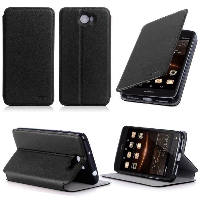 Etui coque Huawei Y5 II 4G 2016 noir - Housse poch