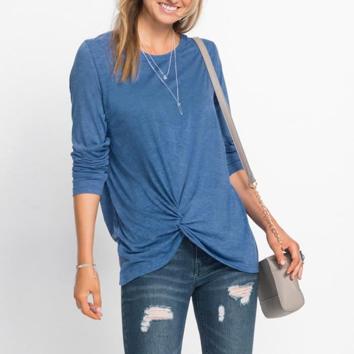 Longues Bleu Solide Casual Top Side O À Chemisier shirt Front Twist T Knot Femmes cou Manches PYwTqYZF