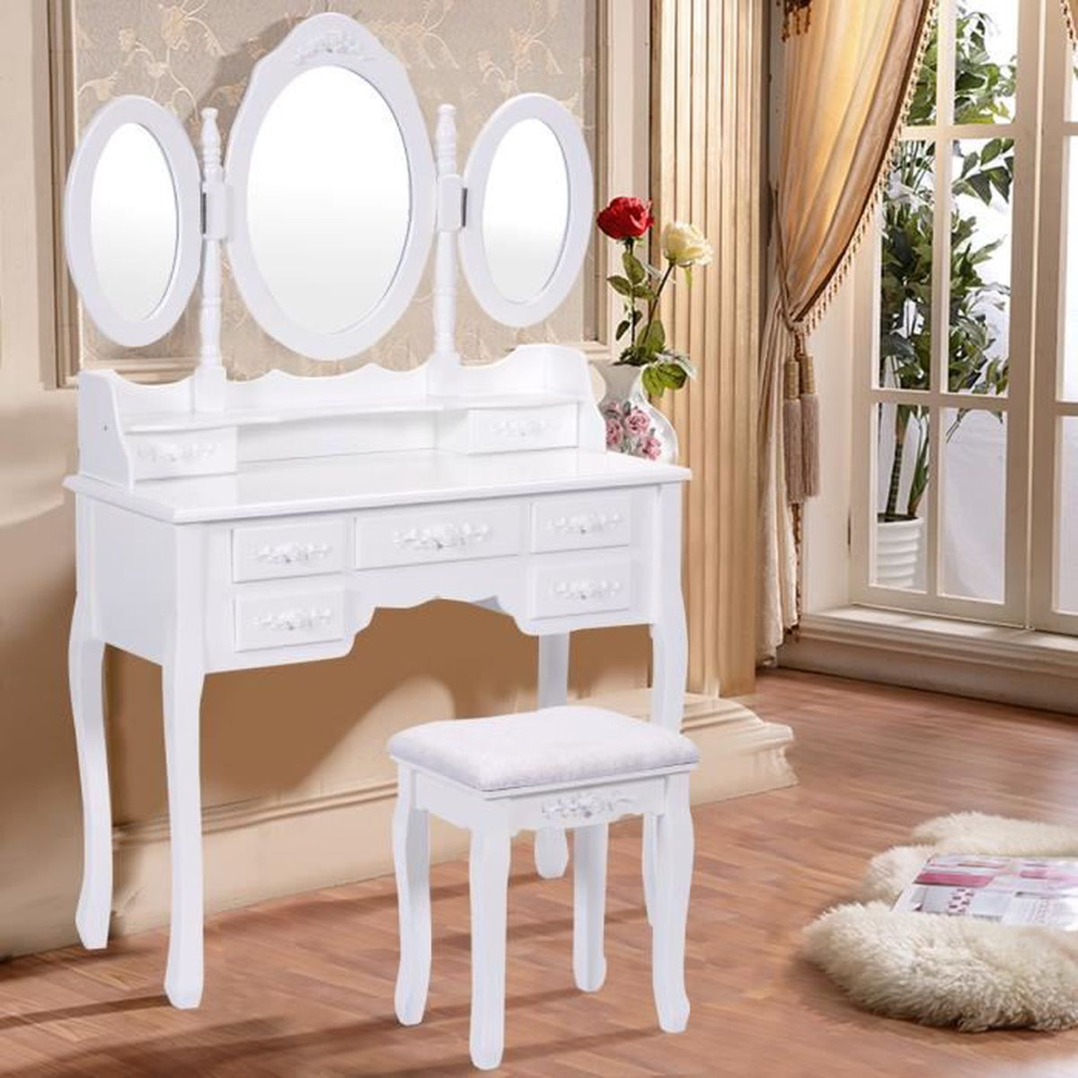 coiffeuse tabouret avec miroir table de maquillage chambre 7 tiroirs achat vente. Black Bedroom Furniture Sets. Home Design Ideas