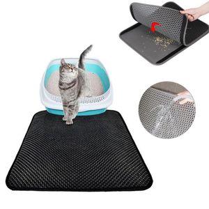 MAISON DE TOILETTE tapis litière pour chat double couche pliable et d