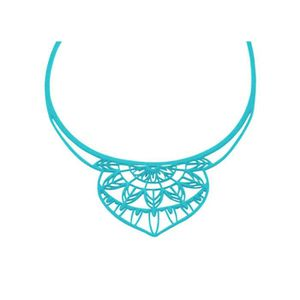 SAUTOIR ET COLLIER Collier India en Silicone Bleu effet Tatouage -