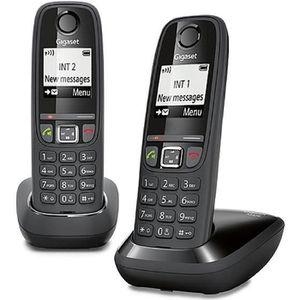 Téléphone fixe Gigaset AS470 Duo Noir - Téléphone DECT - Pack Duo