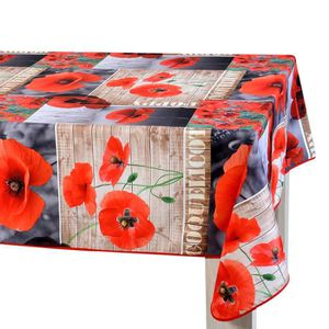 Nappe coquelicot achat vente nappe coquelicot pas cher cdiscount for Nappe de table rectangulaire grande taille
