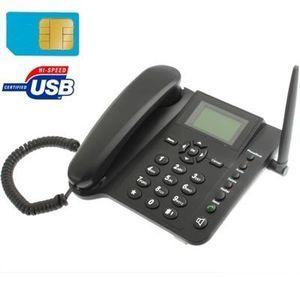 Téléphone fixe Téléphone Bluetooth noir 2,4 pouces TFT écran fixe