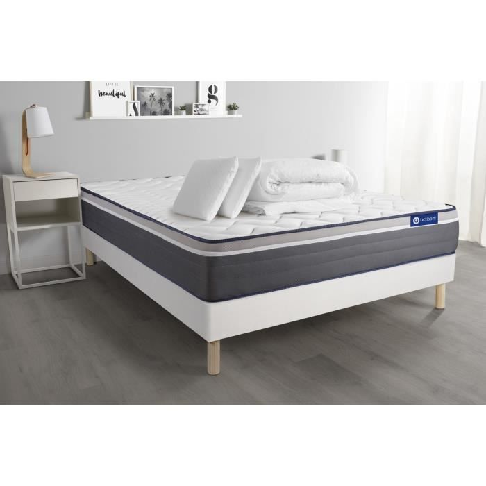 Ensemble sommier matelas - matelas ACTILATEX PLUS 160x200 cm Latex + Mémoire de forme + sommier KIT blanc