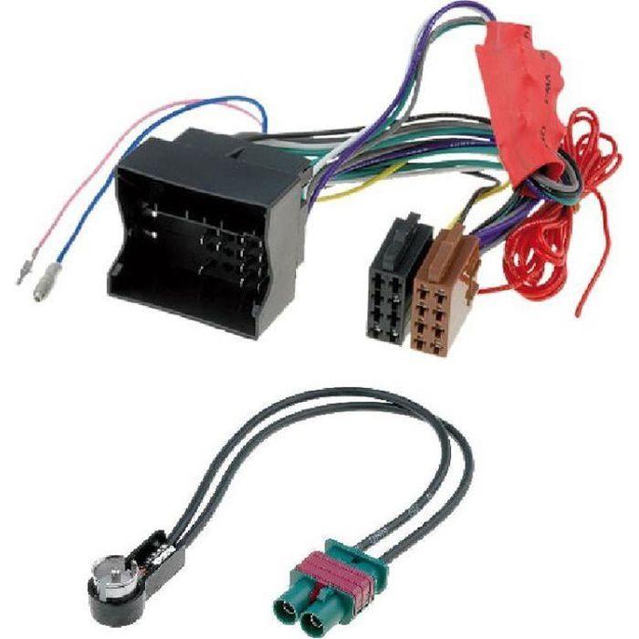 Kit Adaptateurs ISO Autoradio + antenne - Pour systeme amplifie non-Bose - Audi/ Seat/ Skoda/ VW ap02