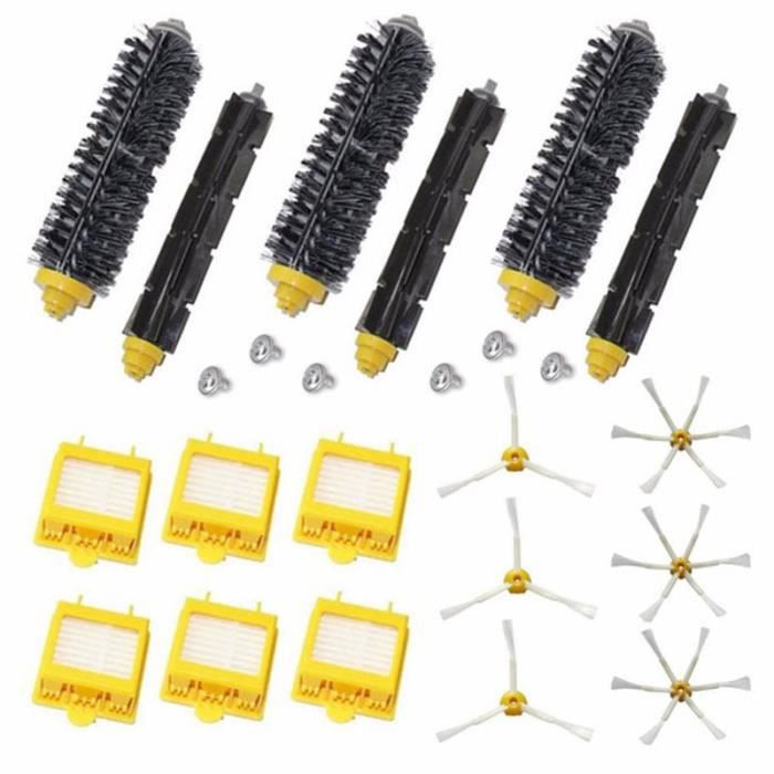 HEPA de remplacement 6x + Kit de brosses latérales + 3 poils et brosse de batteur flexible pour iRobot Roomba série 700 770 780 790