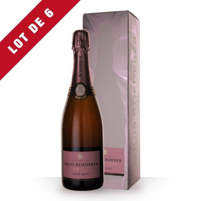 Lot de 6 - Louis Roederer Vintage 2013 Brut Rosé - Etui - 6x75cl - Champagne