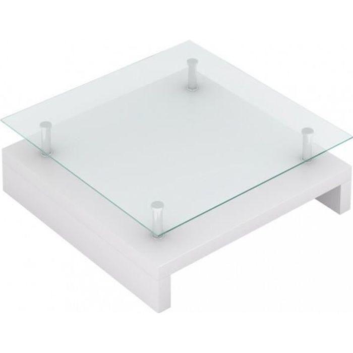 Tables basses Table basse de salon carree verre blanc laque
