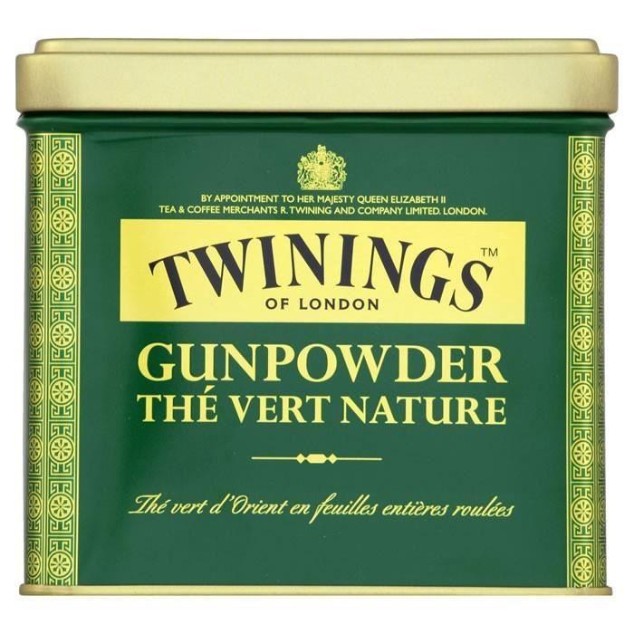 LOT DE 12 - TWININGS Gunpowder - Thé vert nature en vrac 200 g
