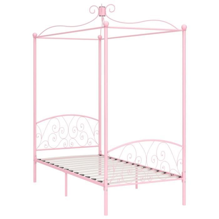 Jardin - Lit adulte à baldaquin - Lit enfant Lit pour 1 personnes Structure de lit Classique Rose Métal 90 x 200 cm Ancien 42585