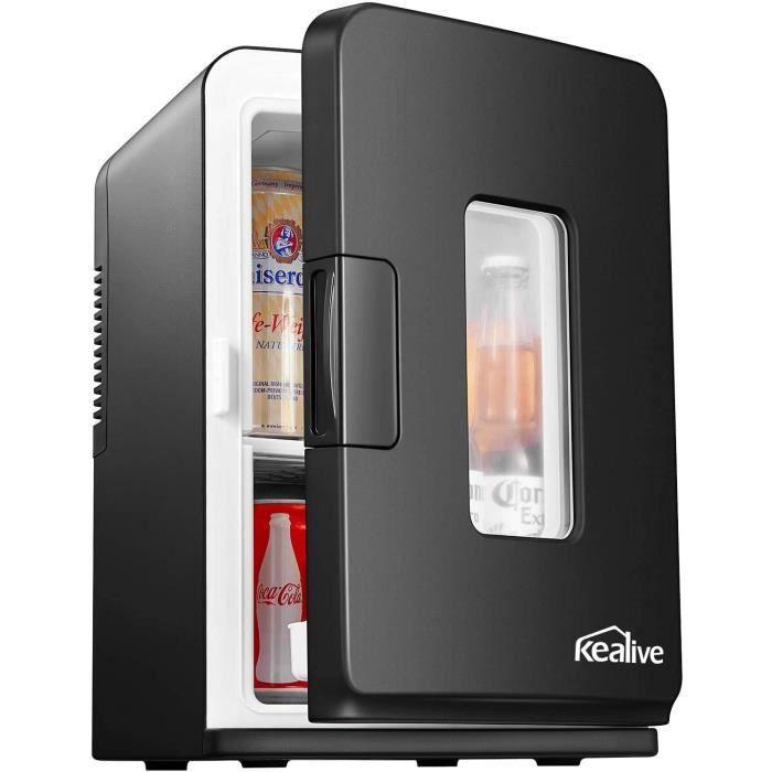 Mini Frigo de Chambre 15L, Mini Réfrigérateur Silencieux 12V/220V avec Fonction Chaud/Froid et Max/Eco, Glacière Électrique Portable