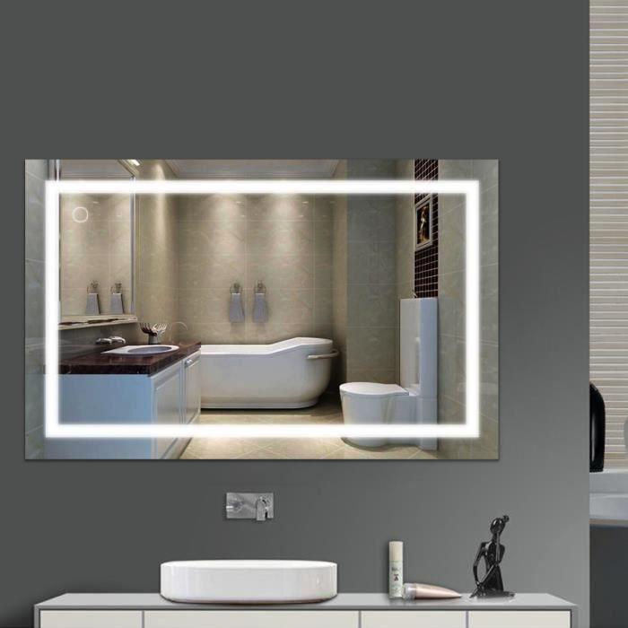 23W-1000*600MM-Blanc froid 6000K Miroir LED Lampe de Miroir Éclairage Salle de Bain Miroir Lumineux Verre Trempé Design Carré