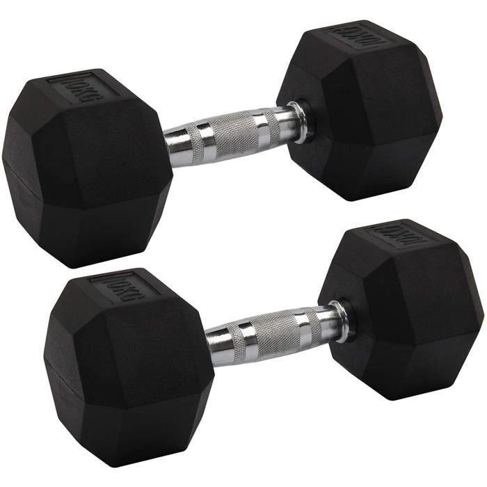 BANC DE MUSCULATION Mutiwill Rubber Encased Hex Hexagonal Dumbbells Pairs Ergo Sets Gym Weights Paire D'halt&egraveres Dumbbell181