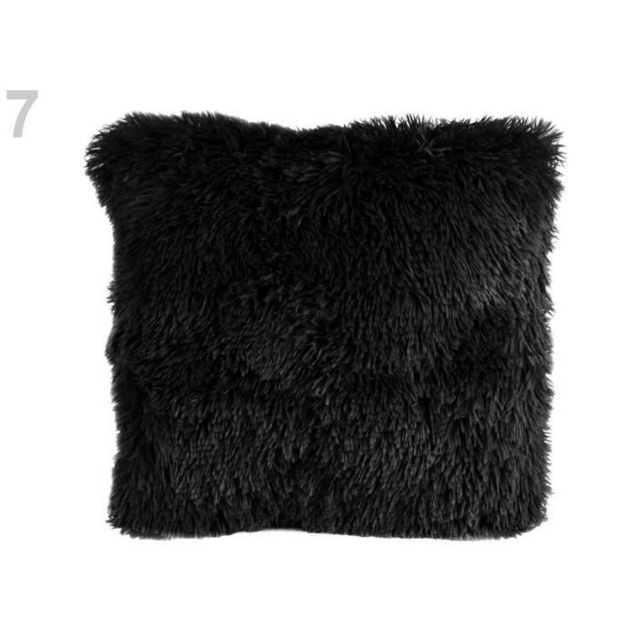 1pc Noir Floue Fourrure Housse De Coussin 40x40cm, Couvre, D'ameublement Et D'accessoires, De Décorations