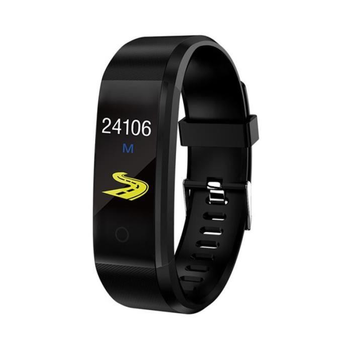 Montre connectée,Bracelet intelligent Sport santé Bracelet fréquence cardiaque tension artérielle Bracelet intelligent - Type Black