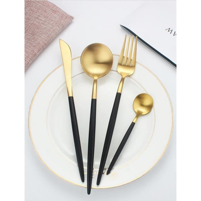 Assiette,Ensemble d'assiettes à dîner en porcelaine noire à bord doré,vaisselle en céramique,plats - Type Cutlery Set