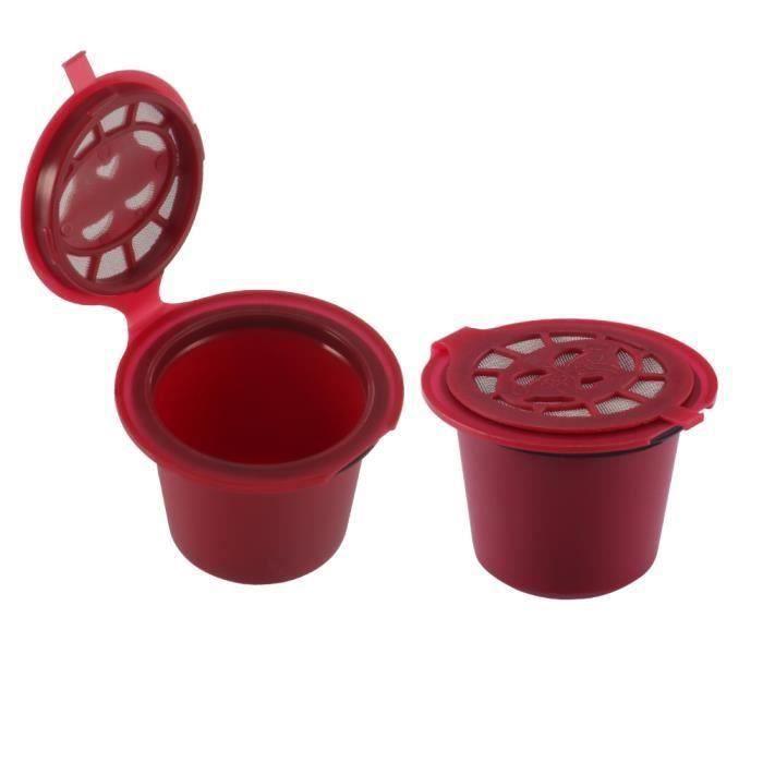 2pcs café Capsules pour Nescafé Nespresso en plastique réutilisables Capsule filtre avec une cuillère Brosse LIA709