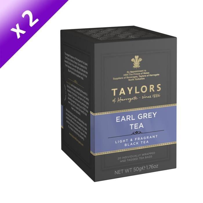 [LOT DE 2] TAYLORS Thé Noir Earl Grey - 20 sachets - 50 g