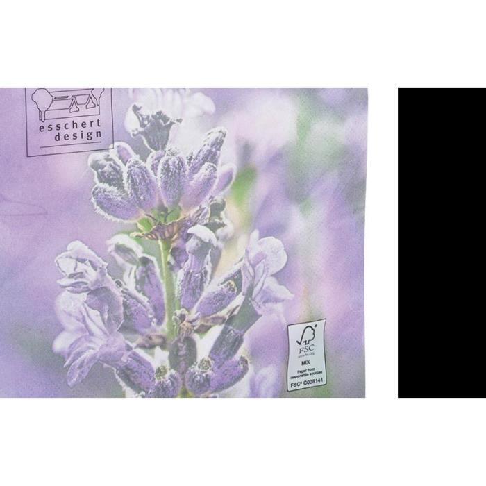 Serviette en papier de soie avec motifs (Lot de 20) Fleurs Multicolore