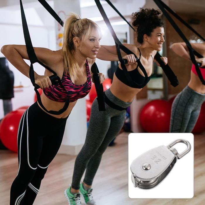 2pcs Poulie en acier inoxydable de levage de de chargement de la charge pour l'entraînement velo elliptique fitness - musculation