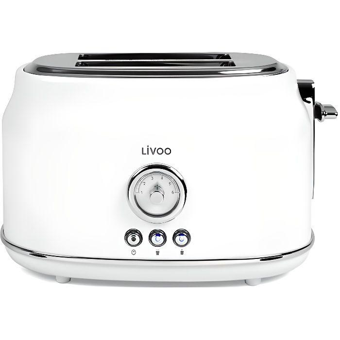 LIVOO DOD181W Grille-pains rétro - 2 fentes - 815W - Thermostat réglable : 6 positions - Blanc