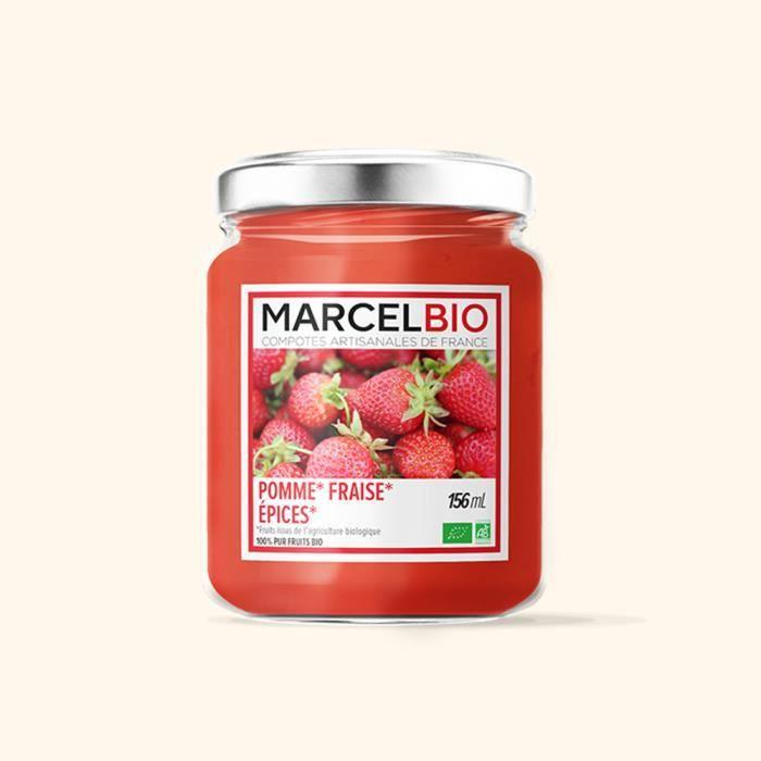 Marcel Bio - Compote pomme fraise épices Bio 156ml
