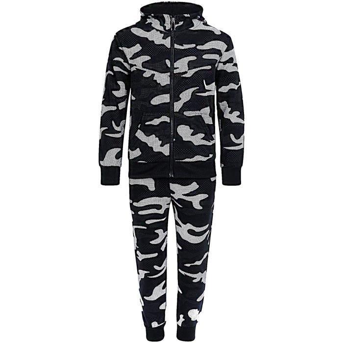 LotMart Enfants Camouflage Pois Imprimé VX-027 Survêtement en Noir 3-4 Ans