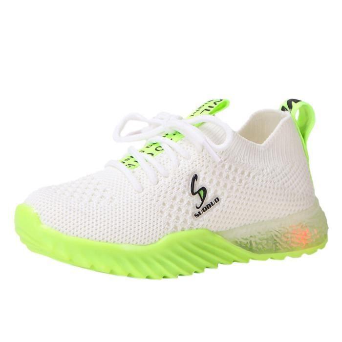 Tonsee® Enfants enfant bébé filles garçons lettre Led lumineux Sport course baskets chaussures décontractées maille blanc