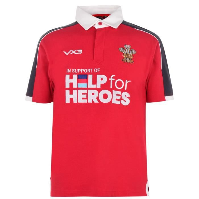 Vx-3 3 Help 4 Heroes Pays De Galles Maillot Rugby Hommes