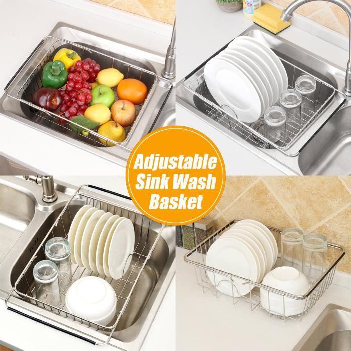 AvanC Égouttoir à Vaisselle Acier inoxydable réglable évier pour cuisine type plat 305x250x120mm