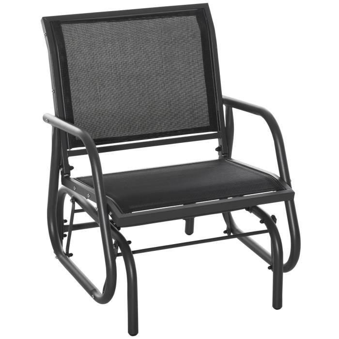 Fauteuil à bascule de jardin rocking chair design contemporain acier textilène noir 75x66x85cm Noir