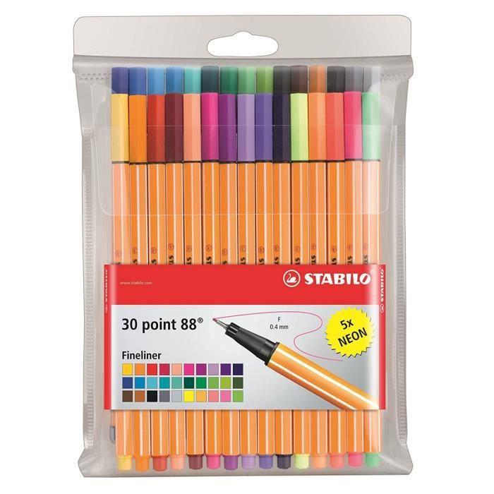 STABILO point 88 - Pochette de 30 stylos-feutres pointe fine - dont 5 couleurs fluo: Fournitures de bureau