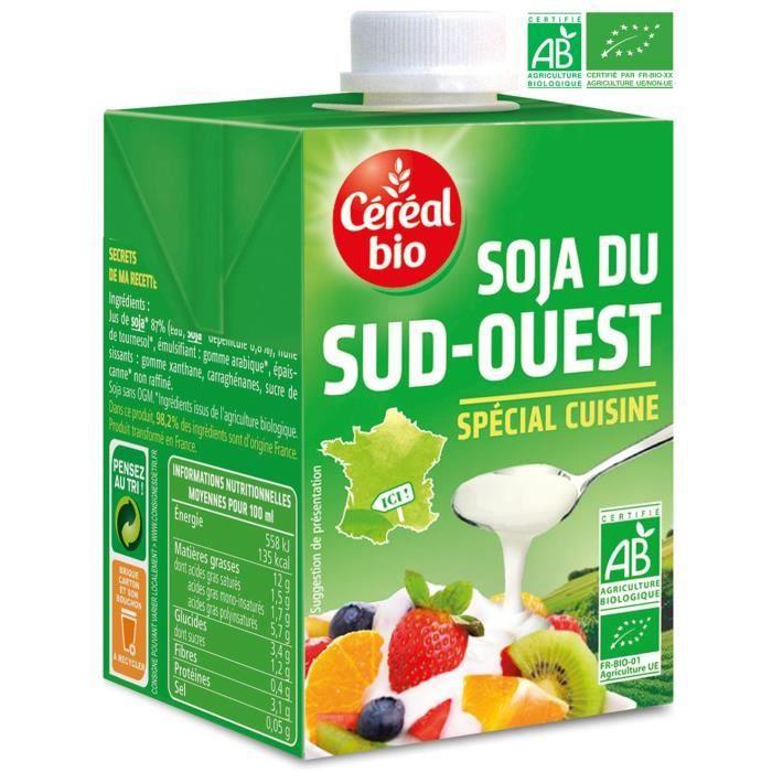 CEREAL BIO Crème de soja du Sud Ouest cuisiné Bio - 3x 20 cl
