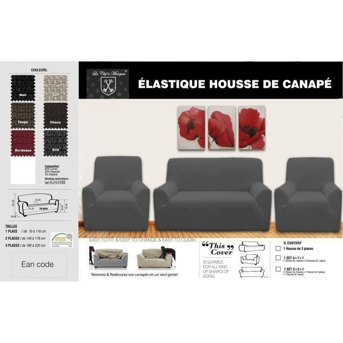 housse de canap lycra 3 1 1 gris achat vente housse de fauteuil cdiscount. Black Bedroom Furniture Sets. Home Design Ideas