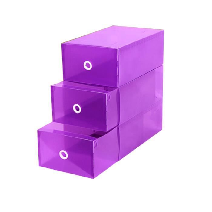 8pcs bo te de rangement de chaussures transparente violet. Black Bedroom Furniture Sets. Home Design Ideas