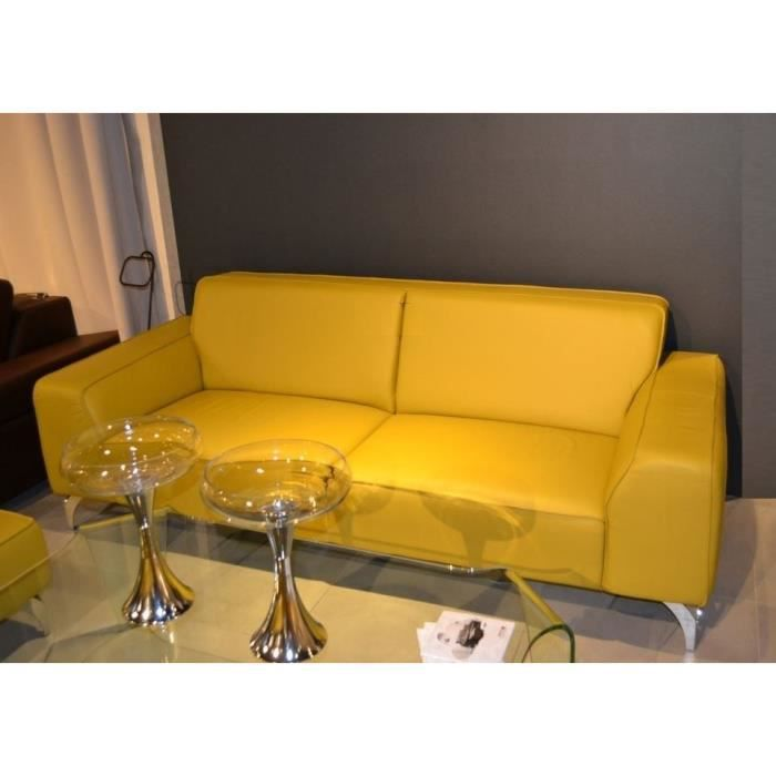 canap 3 places sani 3n2 en cuir jaune achat vente canap sofa divan cuir bois. Black Bedroom Furniture Sets. Home Design Ideas