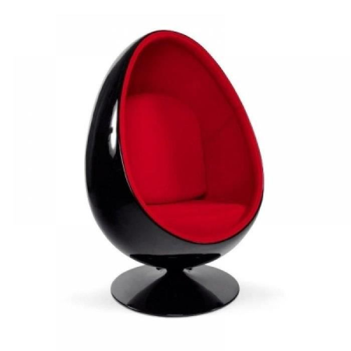 fauteuil oeuf boule design noir rouge achat vente fauteuil mati re de la structure. Black Bedroom Furniture Sets. Home Design Ideas