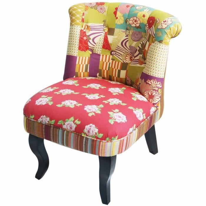 fauteuil crapaud chambord patchwork - achat / vente fauteuil - cdiscount