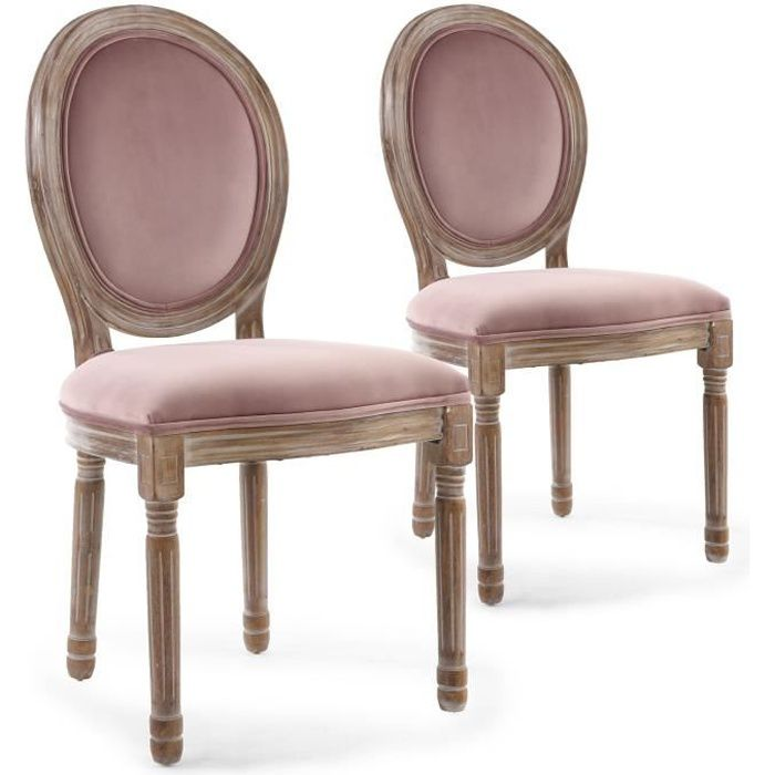 lot de 2 chaises louis xvi bois patin velours rose achat vente chaise rose soldes d s. Black Bedroom Furniture Sets. Home Design Ideas